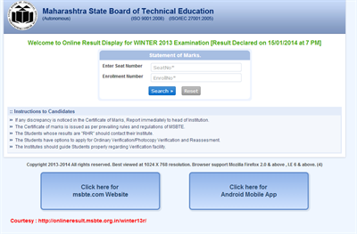 MSBTE 2014 Winter 2013 Examination Results